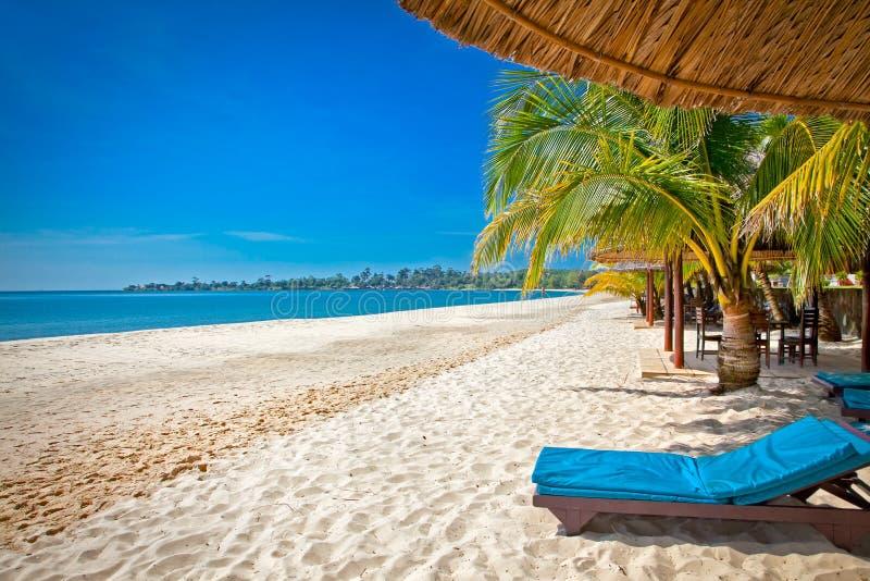 美丽的热带索卡海滩,西哈努克,柬埔寨 库存图片