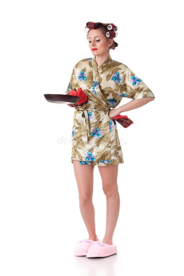 美丽的煎锅妇女年轻人 库存图片