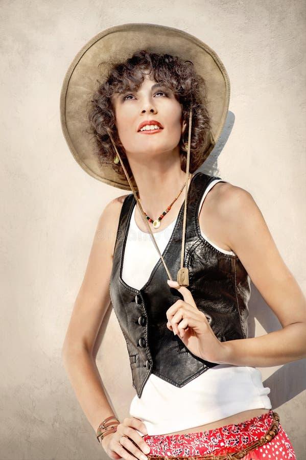 美丽的牛仔帽妇女 图库摄影