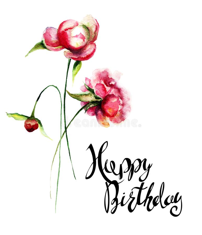 美丽的牡丹花与标题生日快乐 库存例证