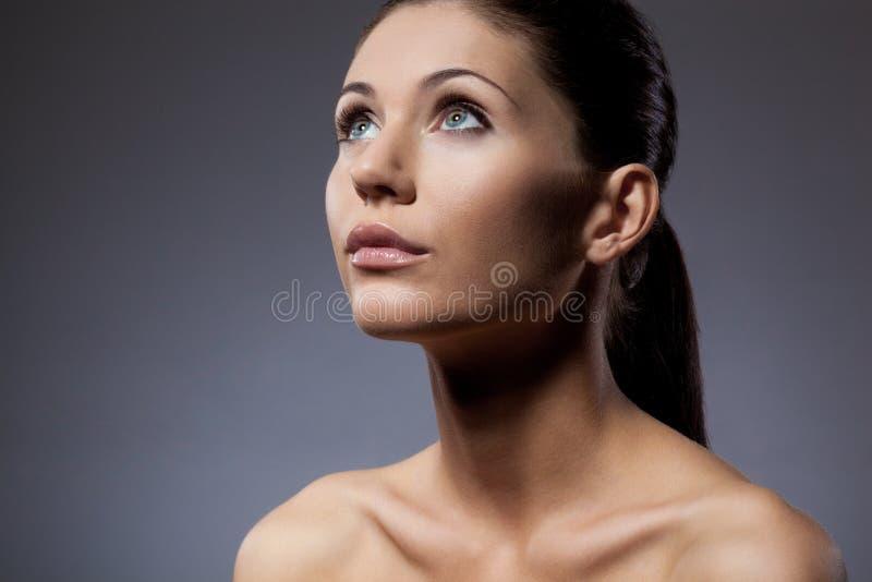 美丽的特写镜头妇女表面纵向 库存照片