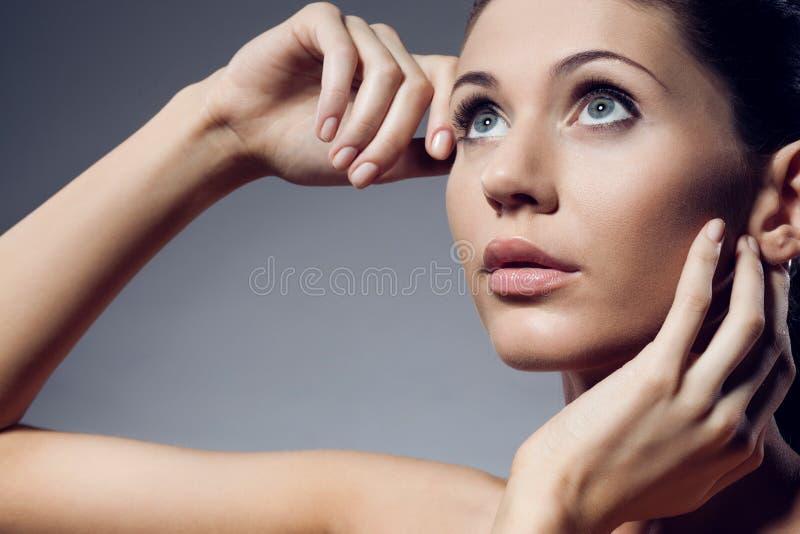美丽的特写镜头妇女表面纵向 库存图片