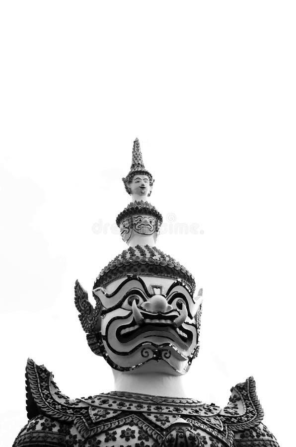 美丽的特写镜头在Wat arun的巨人在Bkk,泰国 库存照片