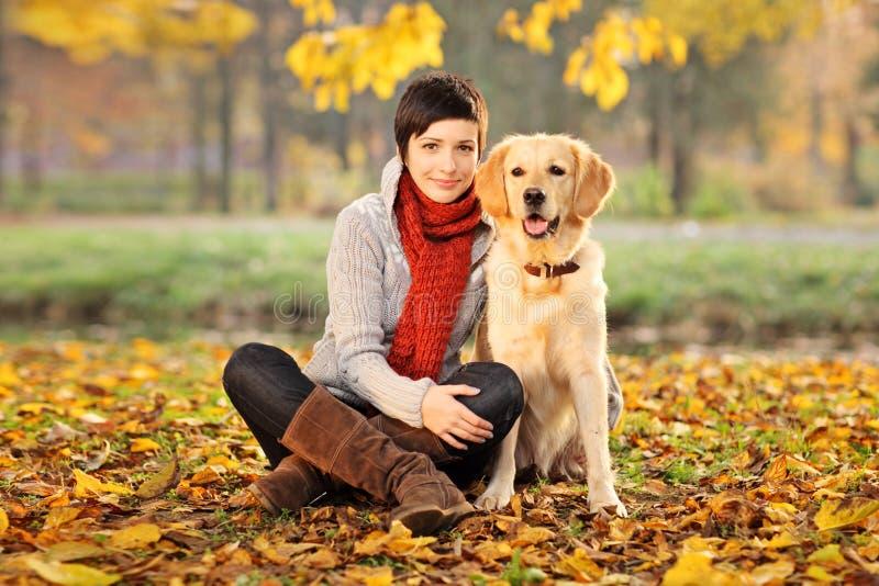美丽的狗他的拉布拉多猎犬妇女 免版税库存照片