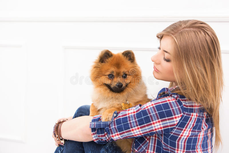 美丽的狗妇女 库存照片