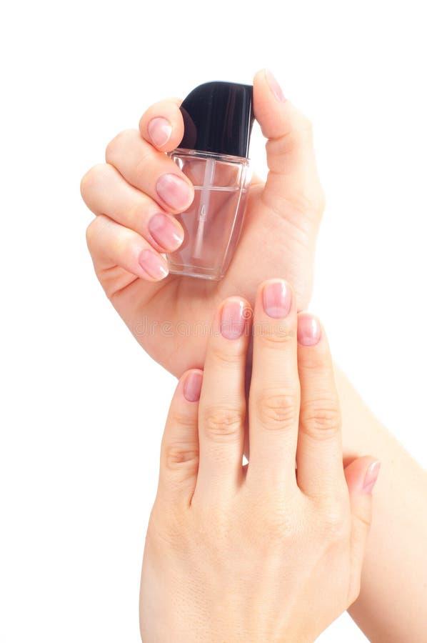 美丽的现有量妇女 温泉和修指甲 软的皮肤,钉子关心的概念 库存图片