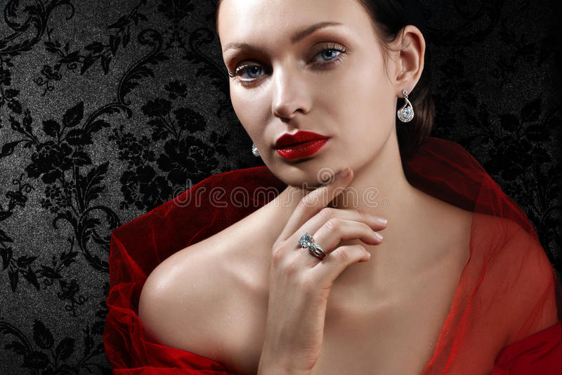美丽的珠宝妇女 库存照片