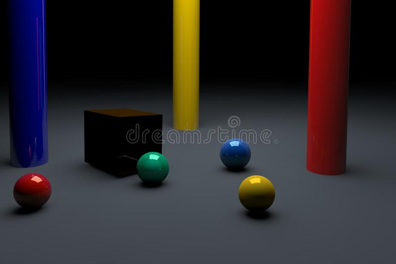 美丽的球和朋友爱 3d?? 库存例证