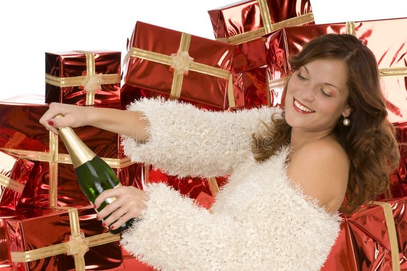 美丽的瓶香槟空缺数目妇女 库存图片