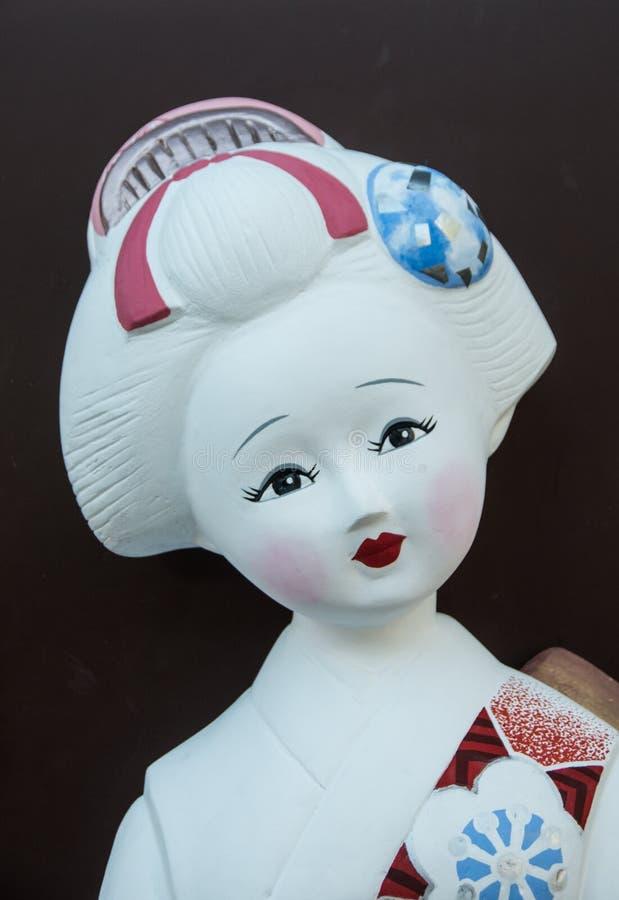 美丽的甜maiko雕象面孔 库存照片