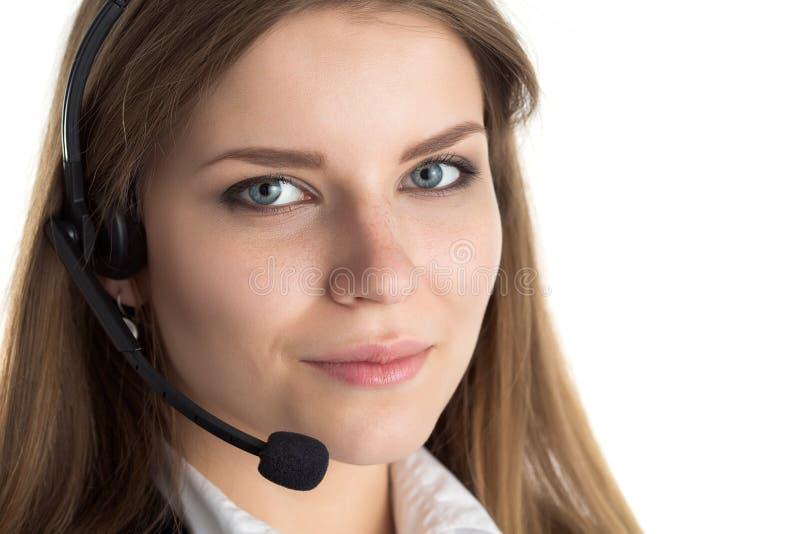 年轻美丽的电话中心工作者画象  图库摄影