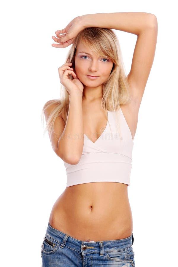 美丽的白人妇女年轻人 免版税库存照片