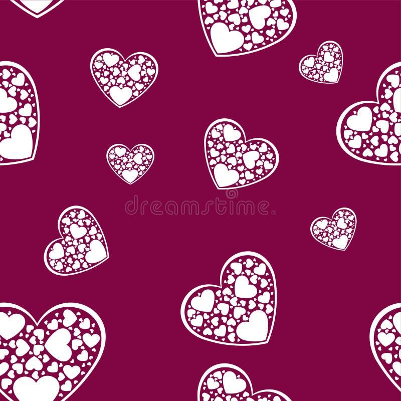 美丽的白皮书削减了与白色框架的心脏 有在一个心形的框架围拢的许多小白色心脏 向量 皇族释放例证