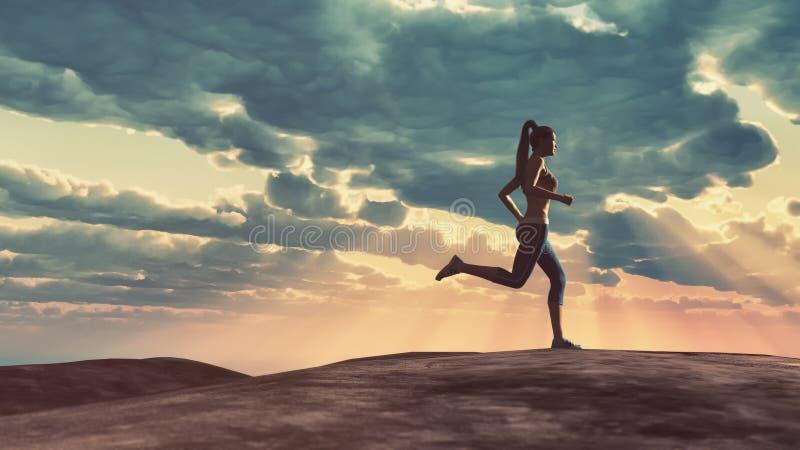 美丽的白种人中国女性混合的族种赛跑者运行中线索火山妇女 皇族释放例证