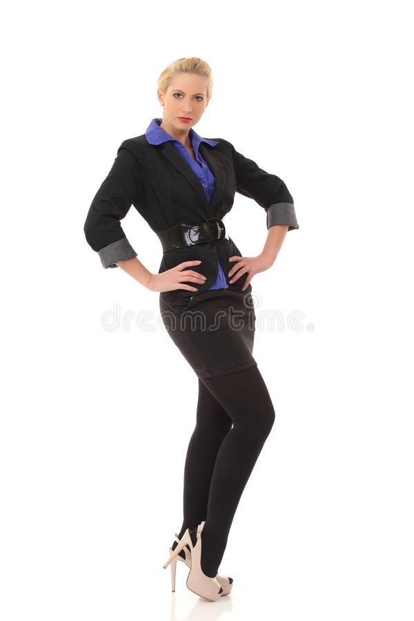美丽的白种人女商人画象黑衣服的 库存图片