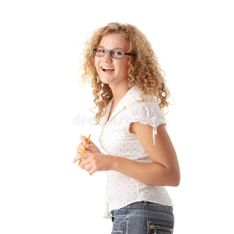 美丽的白种人肥头大耳的女学生 免版税库存照片