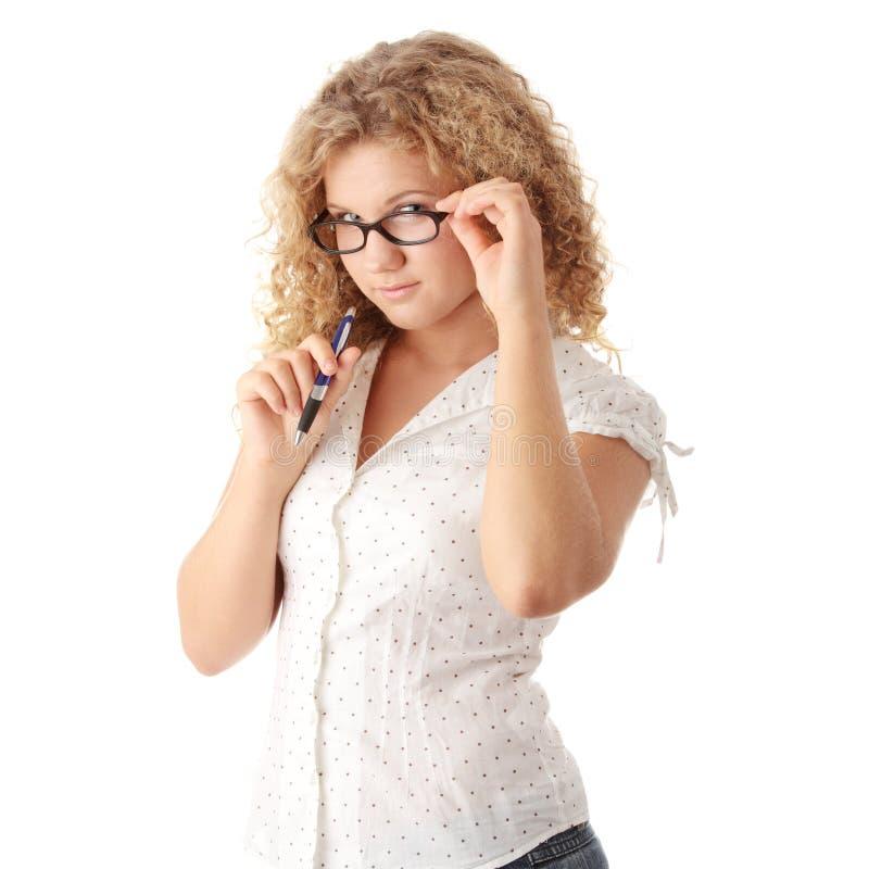 美丽的白种人肥头大耳的女学生 库存图片