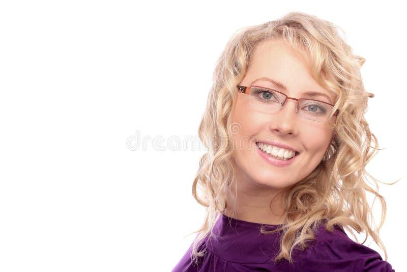 美丽的白肤金发的光学沙龙 免版税库存图片