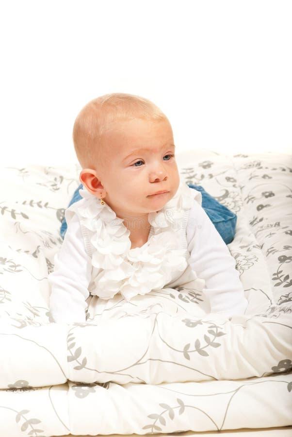 美丽的白肤金发的女婴 图库摄影