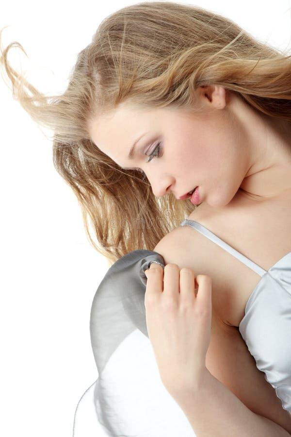 美丽的白肤金发的妇女年轻人 库存照片