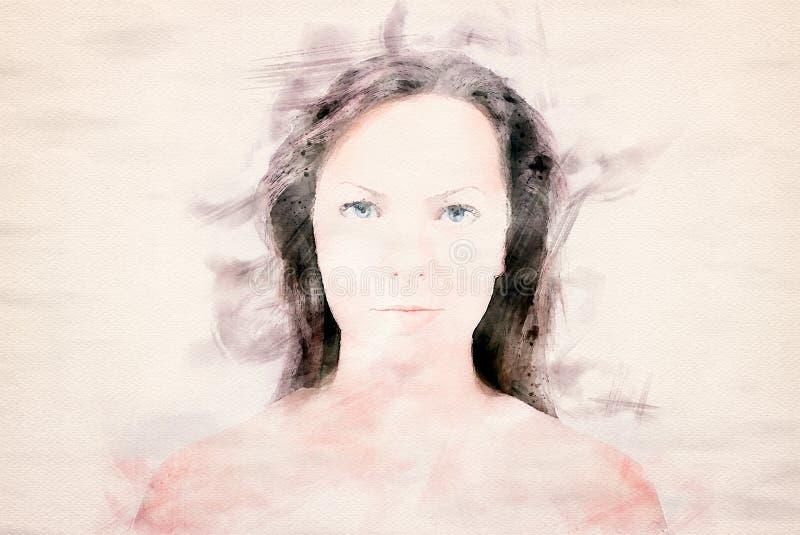 美丽的白肤金发的妇女画象  库存例证