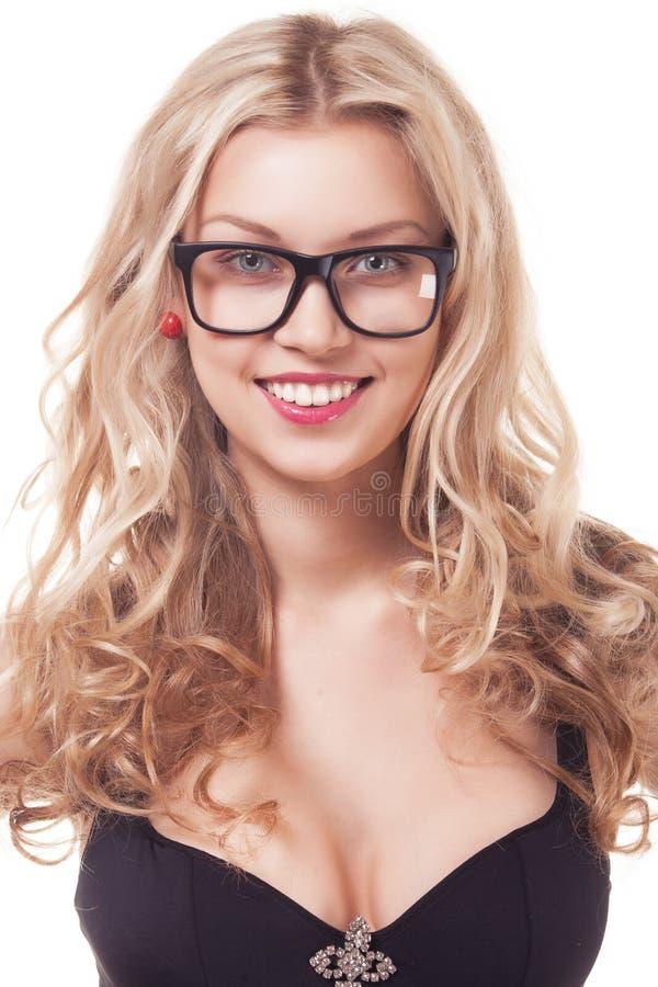 白肤金发的妇女画象玻璃的 库存照片