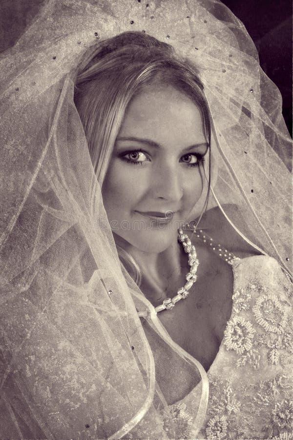 美丽的白肤金发的新娘 向量例证