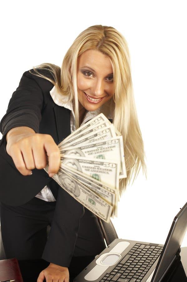 美丽的白肤金发的藏品货币 免版税图库摄影