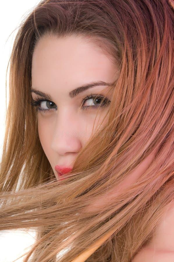 美丽的白肤金发的expresion注视绿色妇女 库存照片