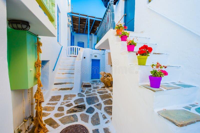 美丽的白色大厦的在希腊街道上的庭院视图 免版税图库摄影