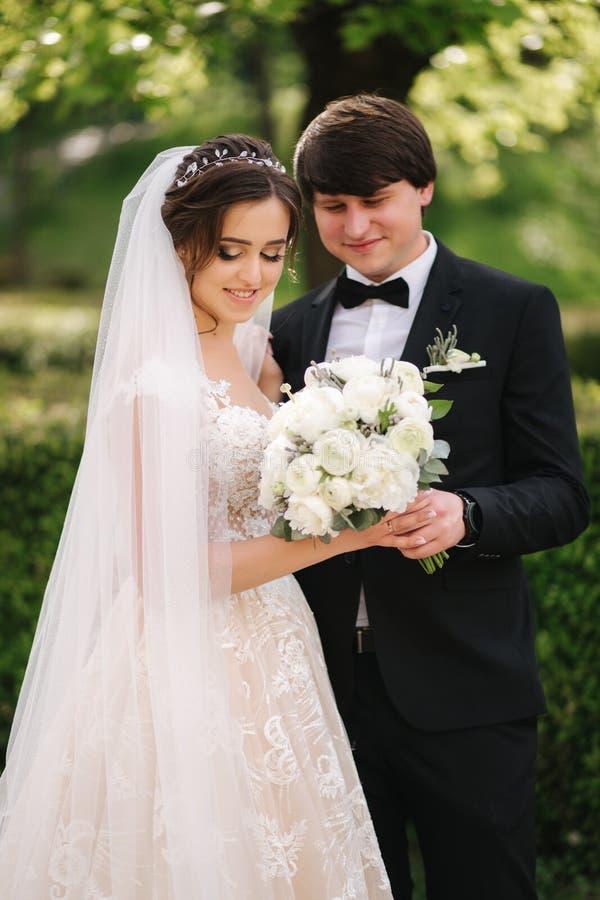 美丽的白色婚纱的Elegand新娘有英俊的新郎的在公园 r 免版税库存图片
