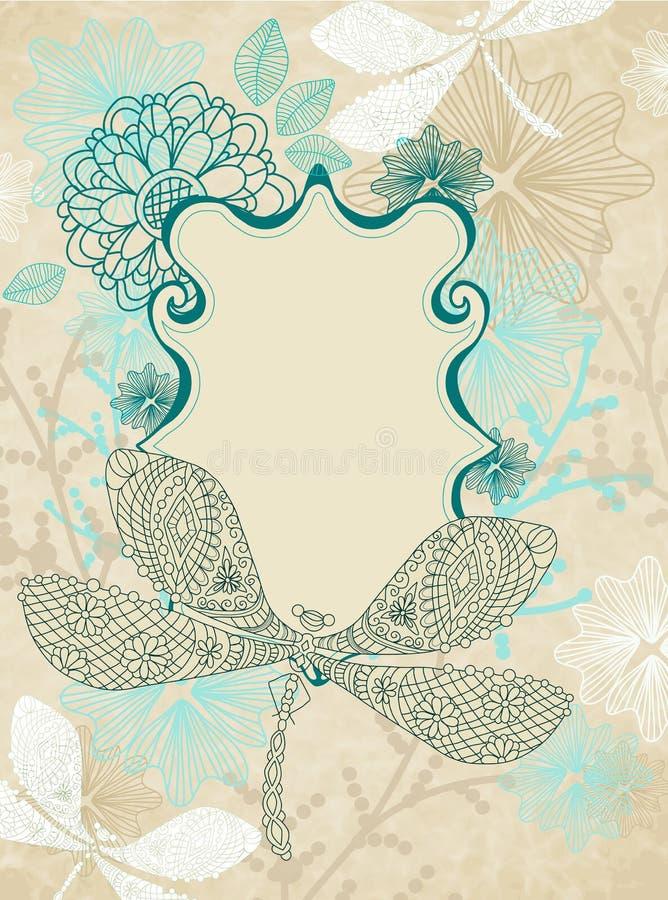 美丽的看板卡蜻蜓花 皇族释放例证