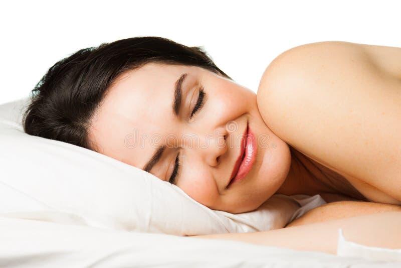 美丽的睡觉的妇女画象  库存图片