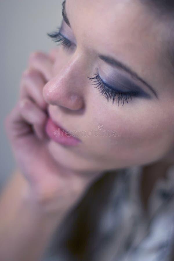 美丽的睫毛妇女 免版税库存照片