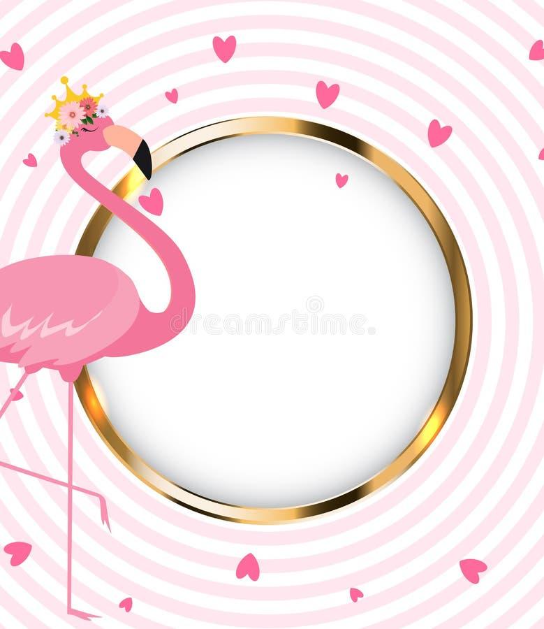 美丽的矮小的公主在金黄冠的Pink Flamingo ?? 向量例证