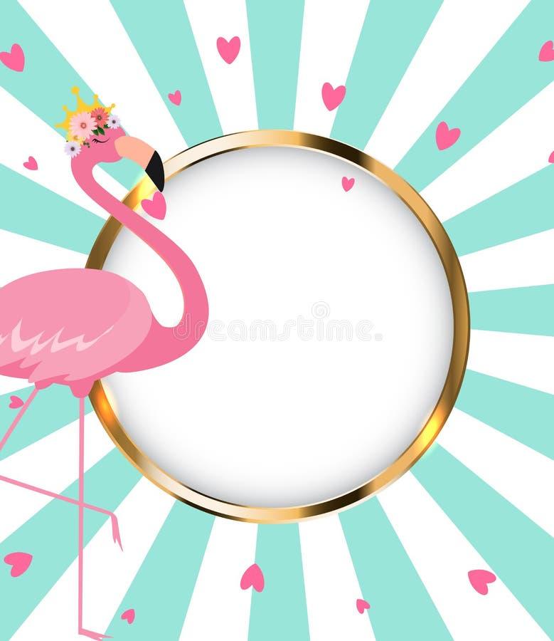 美丽的矮小的公主在金黄冠的Pink Flamingo ?? 皇族释放例证