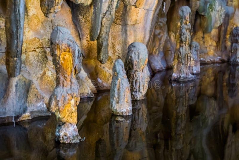 美丽的石笋石头在滴水石头洞中,自然地下风景的水 免版税库存照片