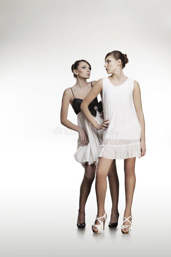 美丽的礼服女孩纵向二 库存图片