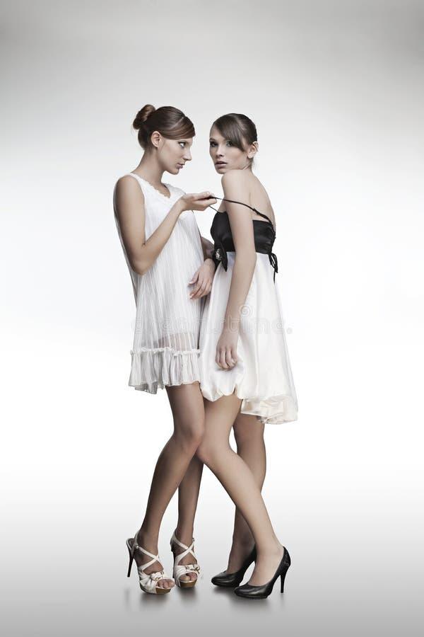 美丽的礼服女孩纵向二 免版税库存图片