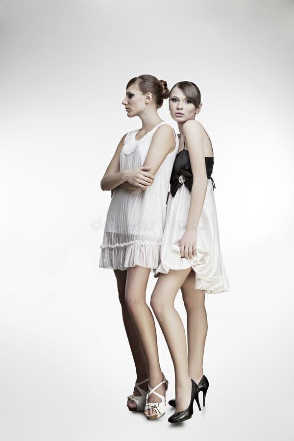 美丽的礼服女孩纵向二 图库摄影