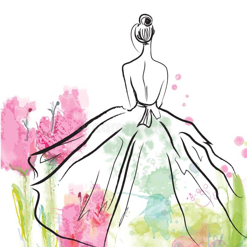 美丽的礼服的-剪影时尚女孩 库存例证