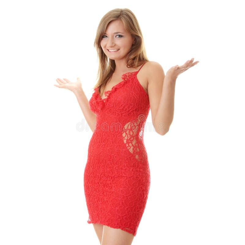 美丽的礼服红色妇女年轻人 库存照片
