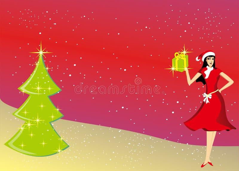 美丽的礼物有圣诞树背景 库存例证
