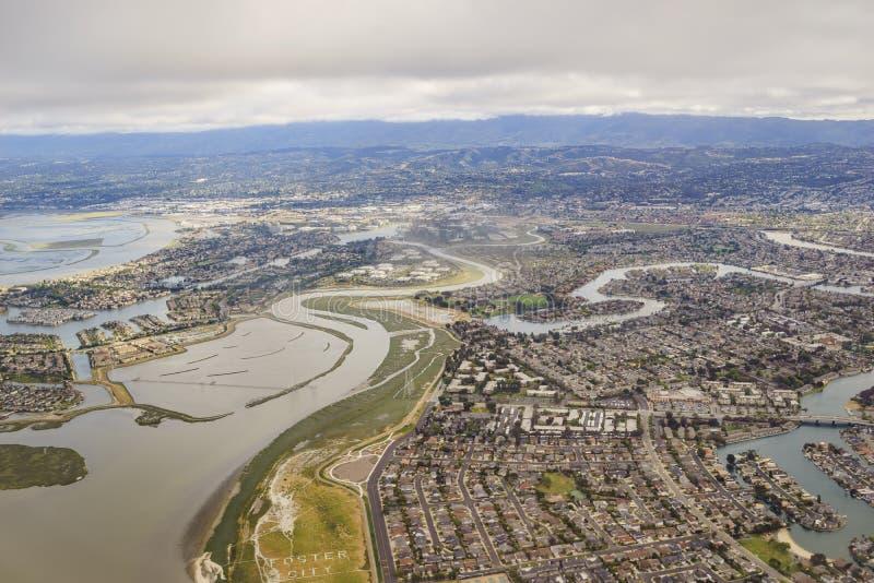 美丽的福斯特城的鸟瞰图在旧金山附近的 库存图片