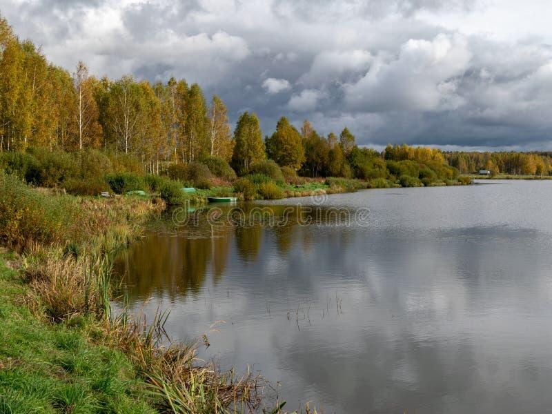美丽的秋色风景,水边绚丽多彩的树木,美丽的反光 库存照片