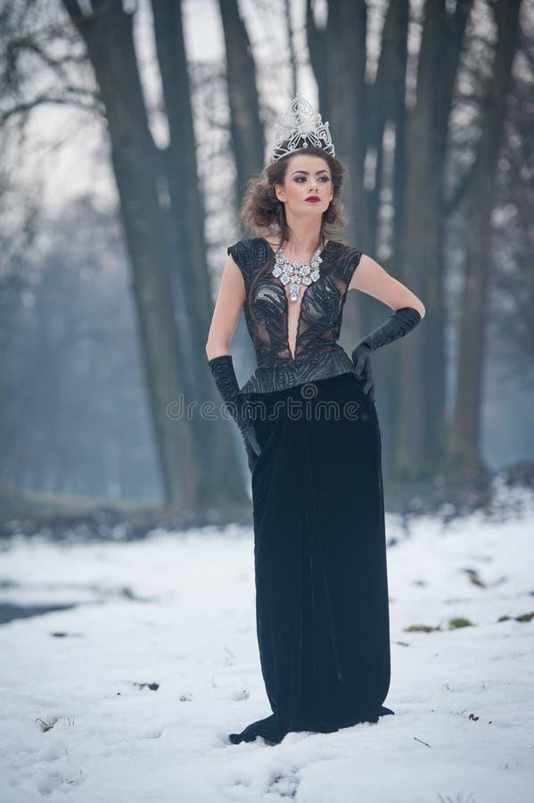 美丽的童话冬天女王/王后在有闪耀的冠状头饰和典雅的黑毛皮大衣的森林里 库存图片