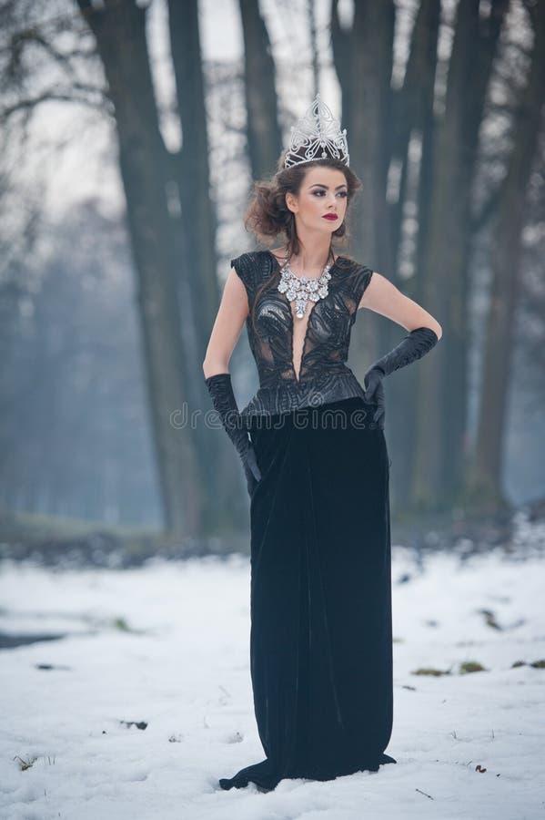 美丽的童话冬天女王/王后在有闪耀的冠状头饰和典雅的黑毛皮大衣的森林里 免版税库存照片