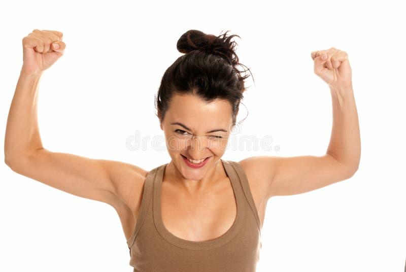 美丽的笑话睡衣最严格的妇女年轻人 库存图片