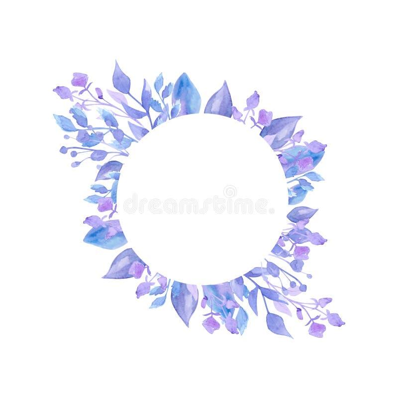 美丽的精美淡紫色花水彩花圈  对婚姻的邀请的装饰 图画要素自然徒手画风格化 美妙9心情多彩多姿的照片被设置的春天的郁金香 向量例证