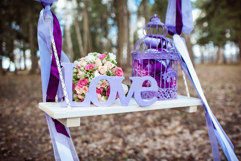 美丽的精美花束的婚礼装饰 免版税库存照片